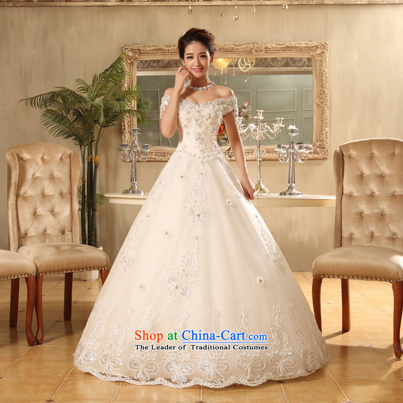 Wedding dresses new to Word 2015, align the shoulder A swing wedding video thin spring and summer Korean brides shoulders strap white聽M