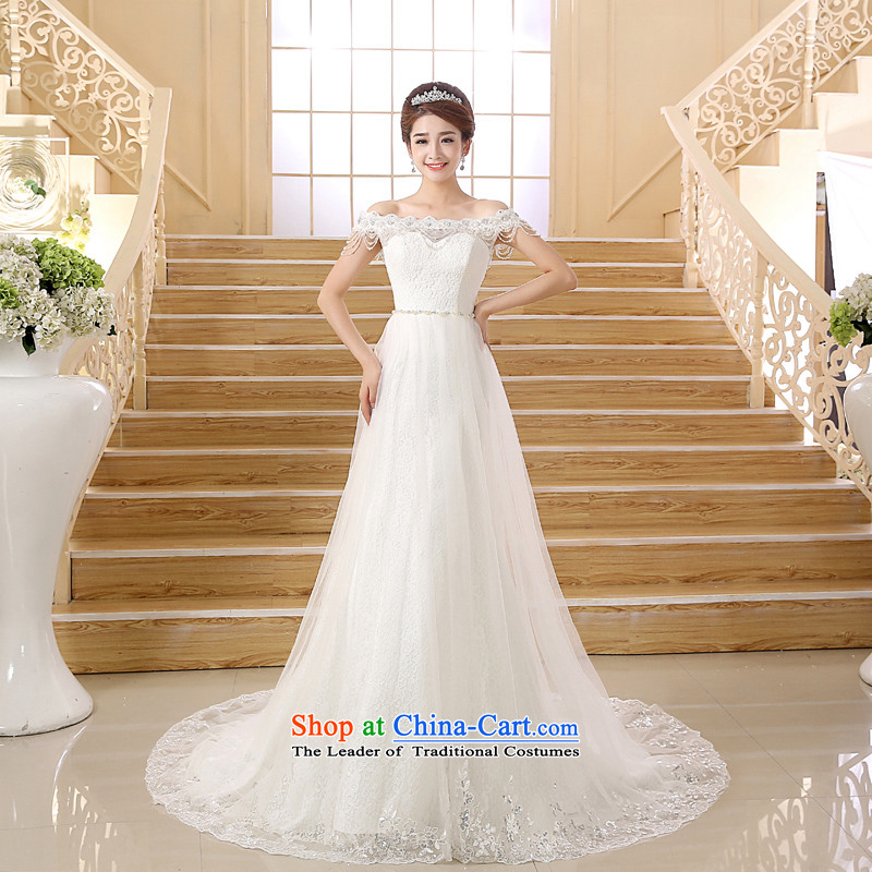Wedding dresses new Word 2015 shoulder straps small trailing wedding fashion foutune crowsfoot white L