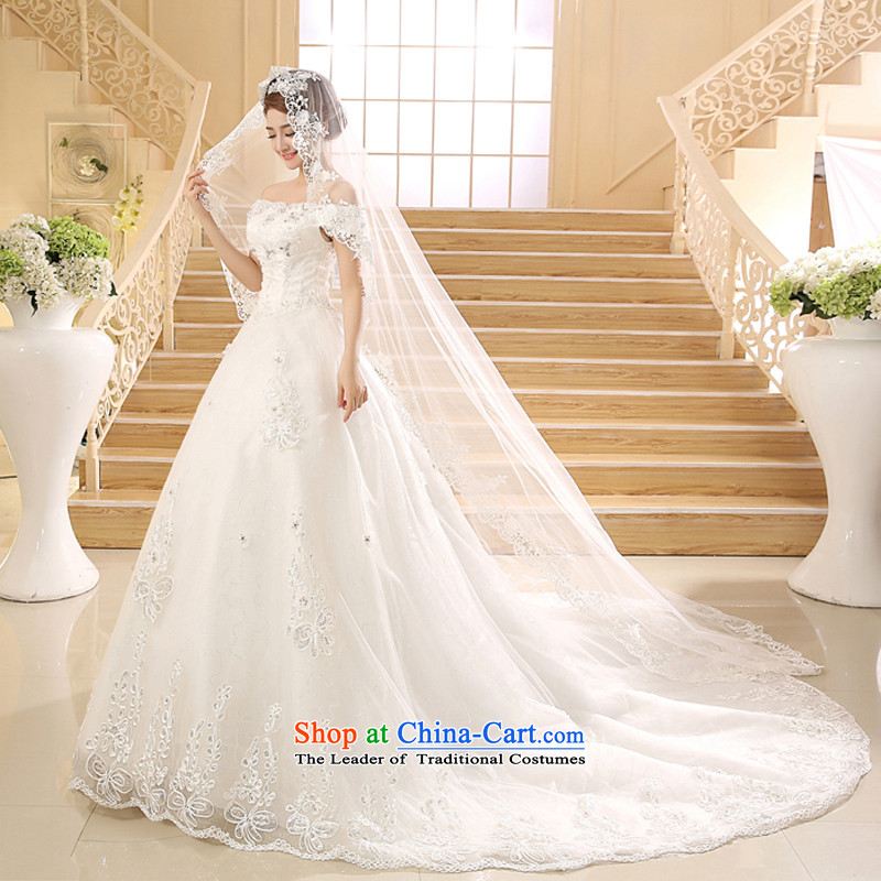 Wedding dresses new 2015 Korean word retro shoulder length tail Graphics alignment to bind thin White?XL
