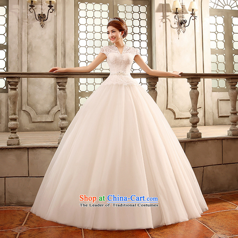 Wedding dresses new 2015 Korean style reminiscent of the wedding to align the shoulder of the word graphics thin package shoulder bride white聽L