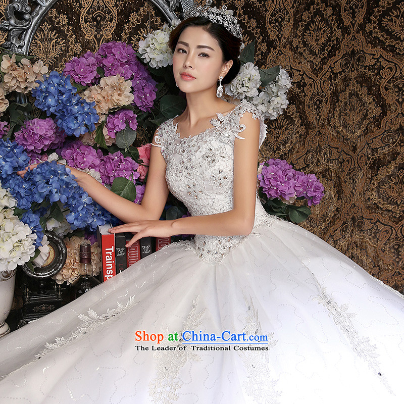 Wedding dresses new 2015 Korean style reminiscent of the white wedding a field to align the shoulder graphics thin White燲L
