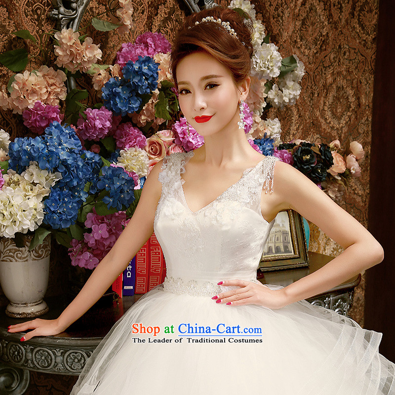 The bride wedding dresses new 2015 Korean Won to align spring release strap shoulders wedding video thin bon bon skirt White聽M