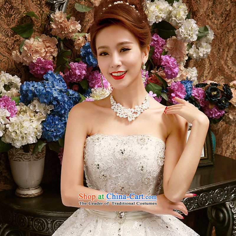 2015 new wiping the chest to wedding dresses large graphics thin Sau San marriages in spring and summer wedding Korean drill White?XL