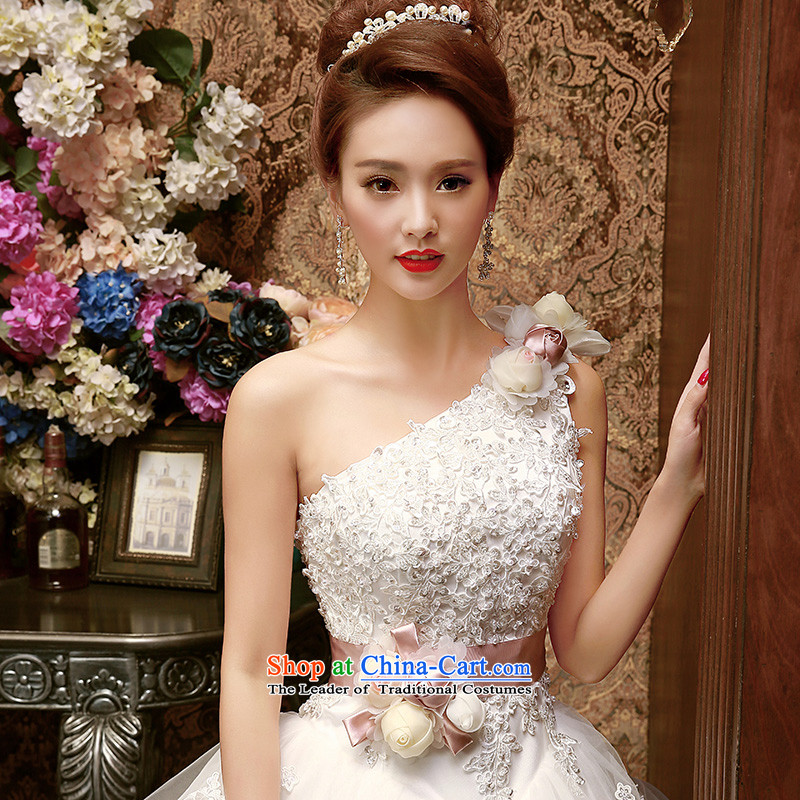 The Korean version of the Korean-style single shoulder The Princess Bride lace wedding dresses in spring and summer 2015 new sweet flowers custom White?XL