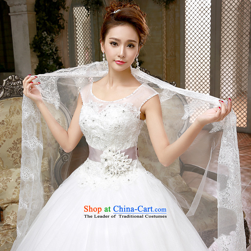 Wedding dresses new 2015 Korean Princess white lace retro to align the spring and summer to bind with White?XL