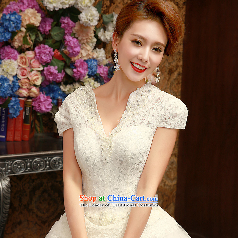 Wedding dresses the new version of the Word 2015 won shoulder in spring and summer bride package shoulder to align graphics thin white聽M