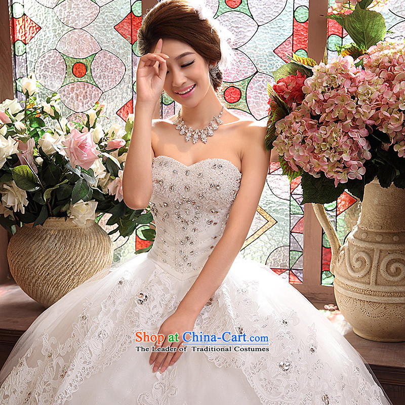 Wedding dresses new 2015 Korean anointed chest Sau San video to align the princess thin drill bon bon skirt white L