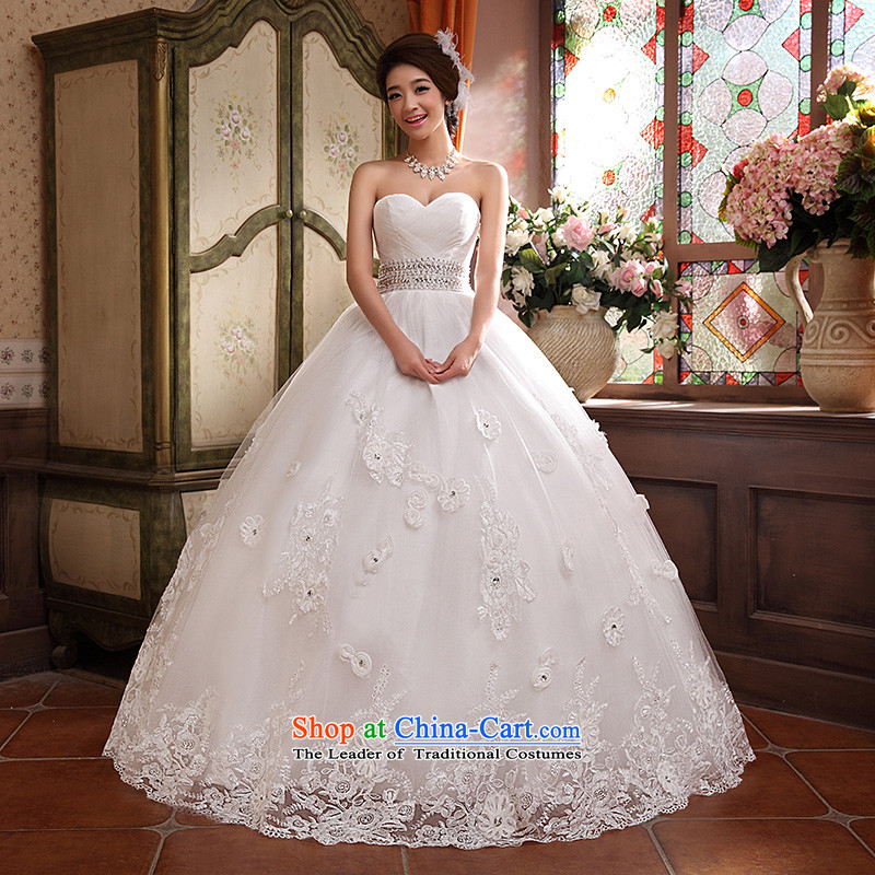 Wedding dresses new 2015 Korean anointed chest Sau San video to align the princess thin flowers bon bon skirt White M