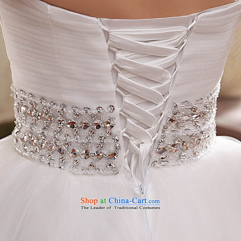 Wedding dresses new 2015 Korean anointed chest Sau San video to align the princess thin flowers bon bon skirt White聽M Yue the married arts , , , shopping on the Internet