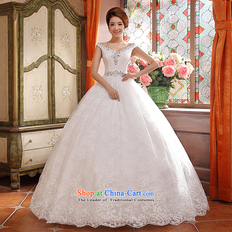 Wedding dresses new spring and summer 2015 Korean brides white drill word retro shoulder strap White?XL