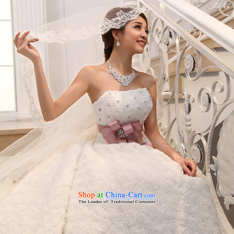 Wedding 2015 new white long tail bride Korean Deluxe water drilling and chest tail White XL