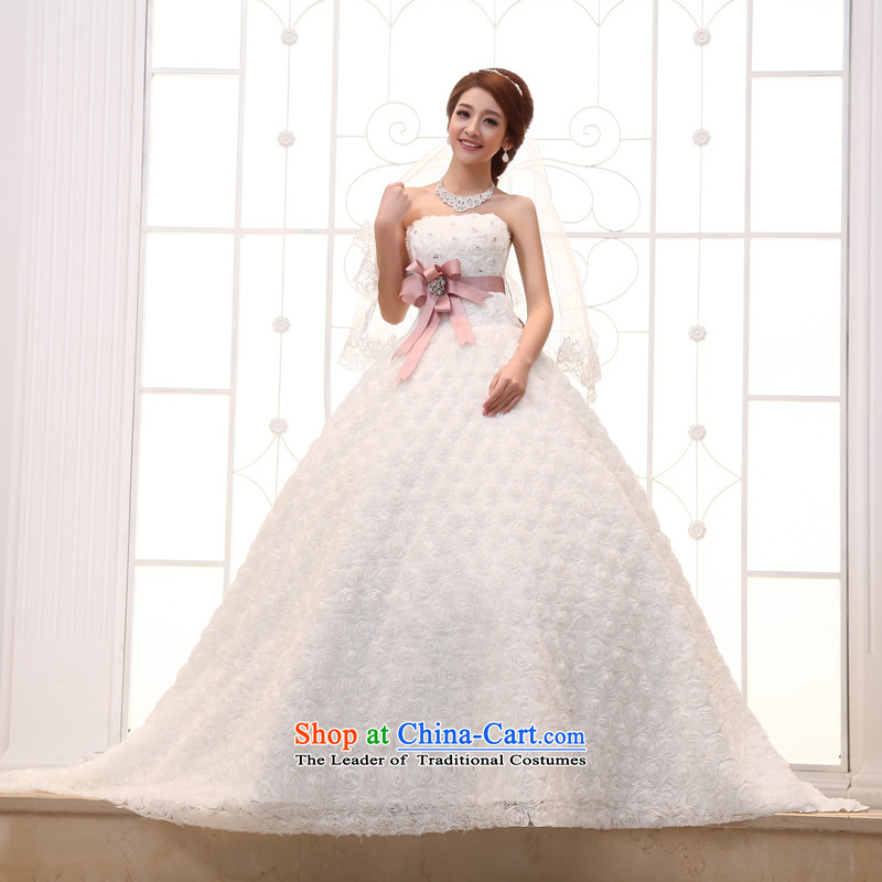 Wedding 2015 new white long tail bride Korean Deluxe water drilling and chest tail White聽XL, Yue the married arts , , , shopping on the Internet