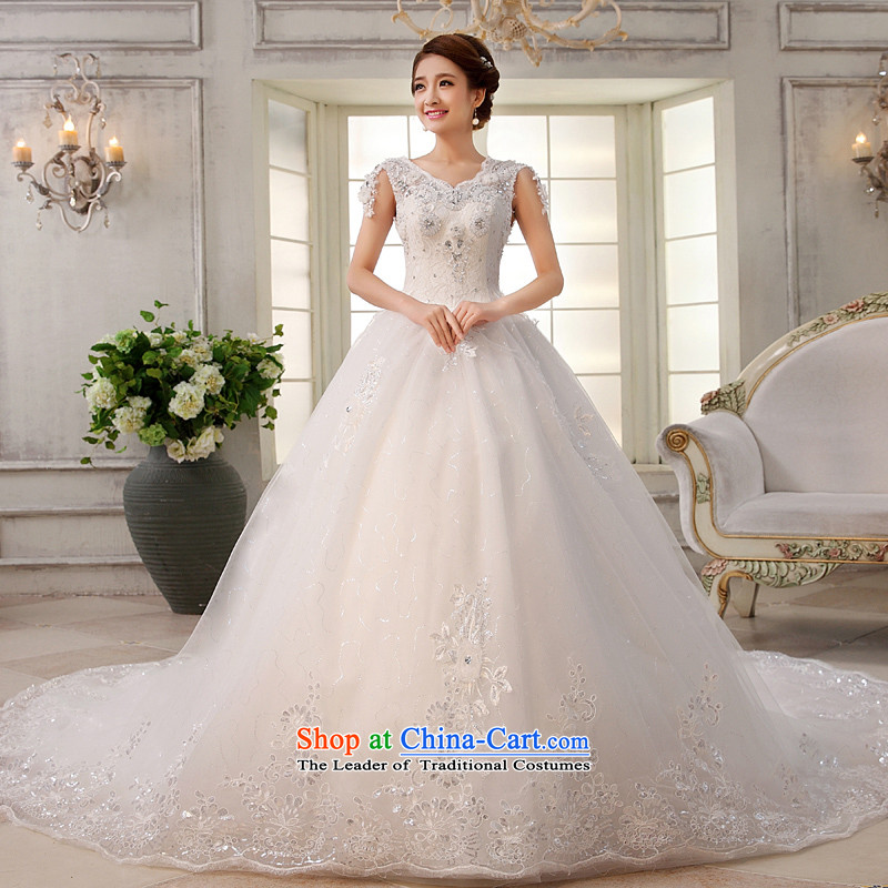 Wedding dress 2015 new white long tail of a Korean word shoulder bride deluxe water drilling straps large trailing white聽L