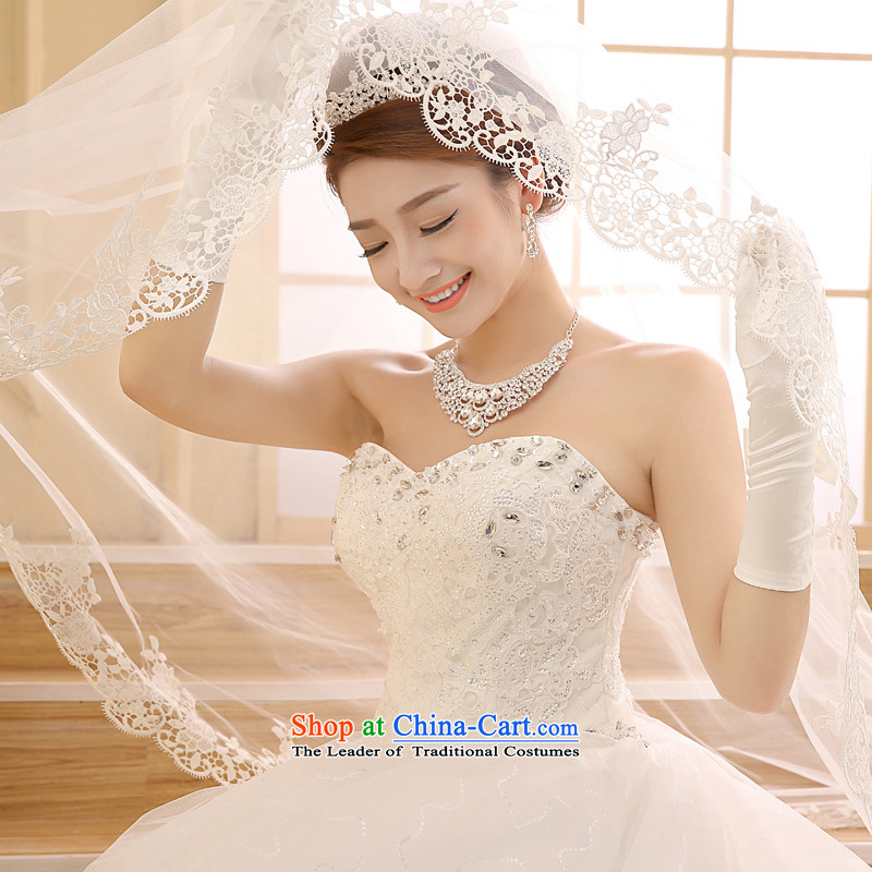 Wedding 2015 new white long tail bride Korean Deluxe water drilling and chest tail White聽XL