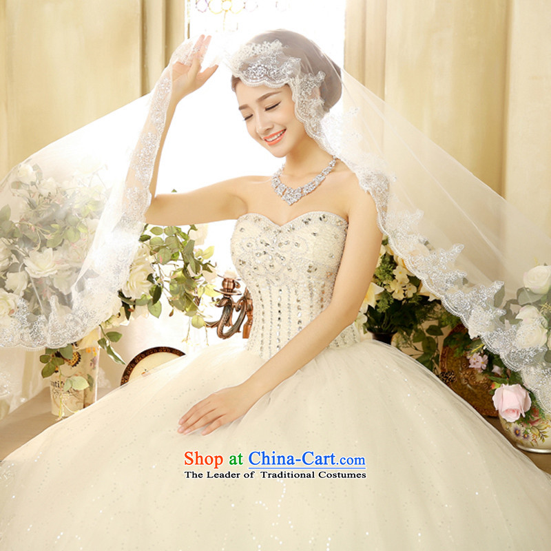 2015 new anointed chest video thin wedding dresses and chest straps to water drilling minimalist Korean white�L