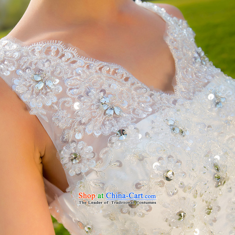 A bride wedding dresses 2015 new wedding shoulders back tail wedding lace wedding 889 S, a bride shopping on the Internet has been pressed.