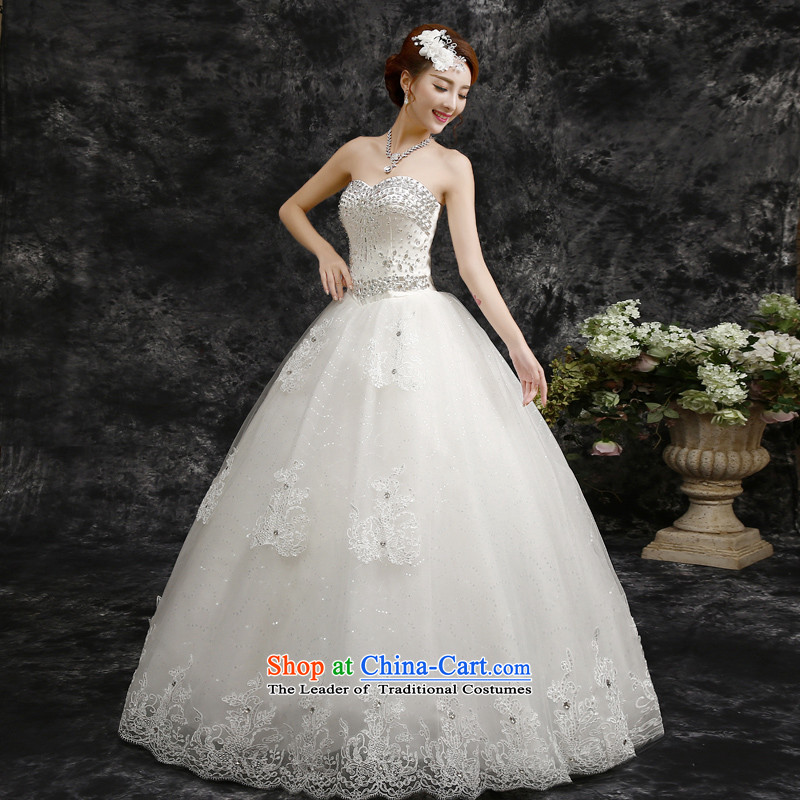 2015 Autumn and winter new Korean-style luxury depilation chest to align the diamond wedding dresses white?S