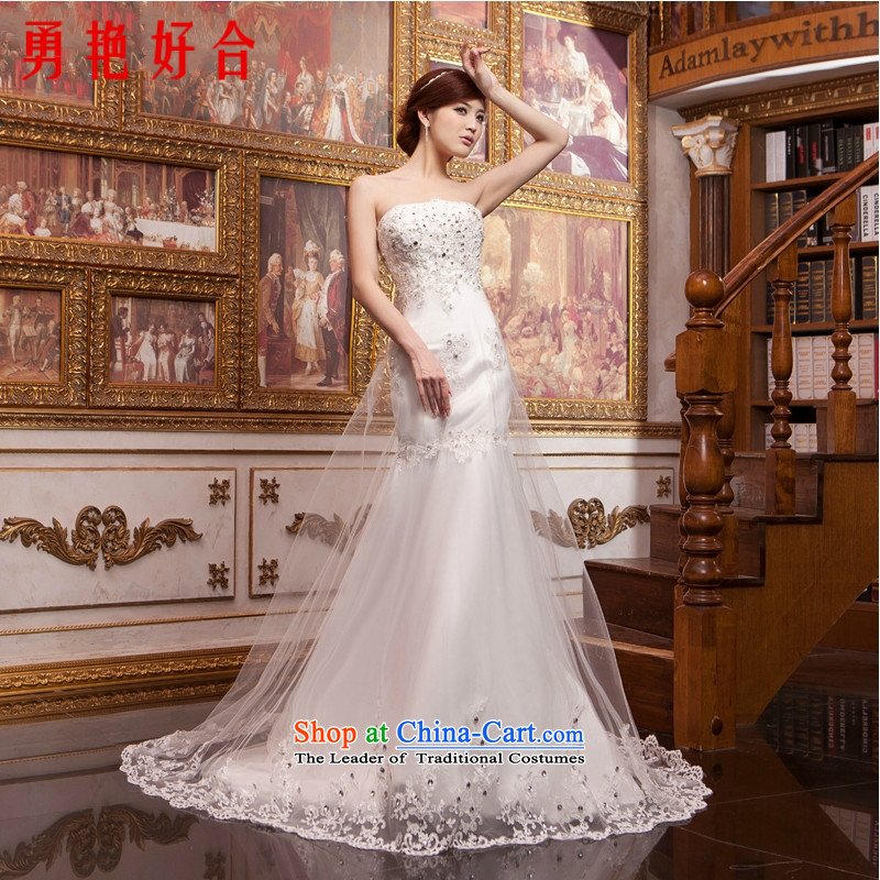 Yong-yeon and Korean brides marriage crowsfoot long drag Sau San Mei wedding dresses 2015 new lace wipe his chest retro small crowsfoot white made no refunds or exchanges Size