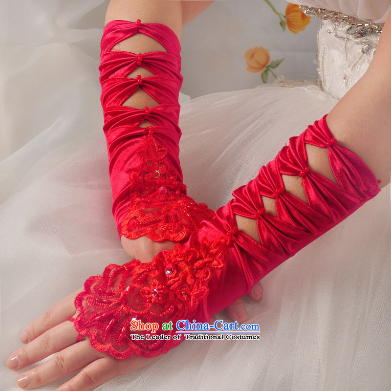 The privilege of serving the bride-leung wedding embroidered red leather glove lace terrace refers to marry butterfly yarn accessories white gloves