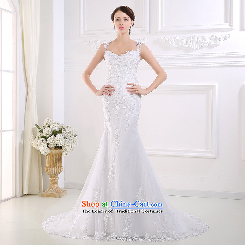 Custom dressilyme wedding by 2015 Spring/Summer lace straps fluoroscopy back crowsfoot small tail Sau San wedding dresses and sexy bride ivory - no spot 25 day shipping tailored