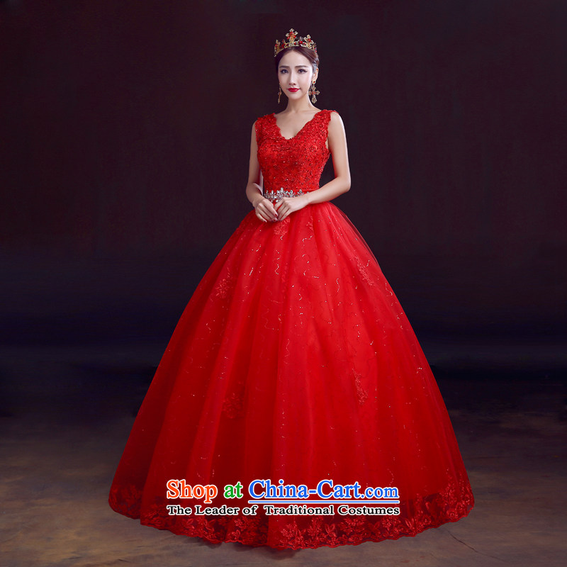 The dumping of the wedding dress wedding dresses new 2015 autumn and winter shoulders to align the red bon bon Kwan bride wedding married to align the deep V-neck strap, Red?L