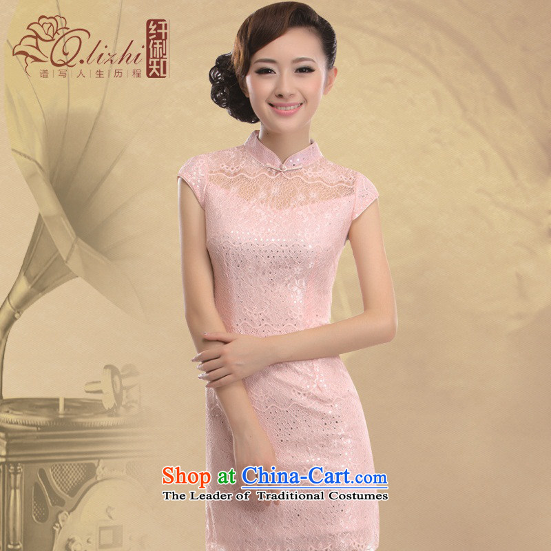 The former Yugoslavia Li aware of?spring and summer 2015 new retro improved fashionable upper lace cheongsam dress skirts and sexy?QLZ15Q6008?pink?XXL