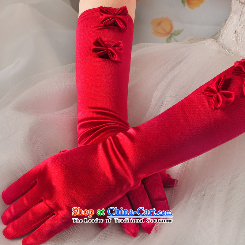 The privilege of serving-leung wedding dresses bride bow tie gloves beautiful marriages long red and white gloves red