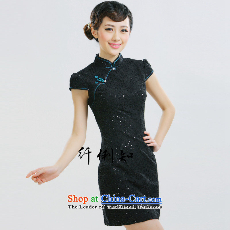 The former Yugoslavia Li aware of�spring and summer 2015 New Stylish retro small dress improved lace Chinese style qipao�QLZ15Q6012 Sau San�high collar black�S