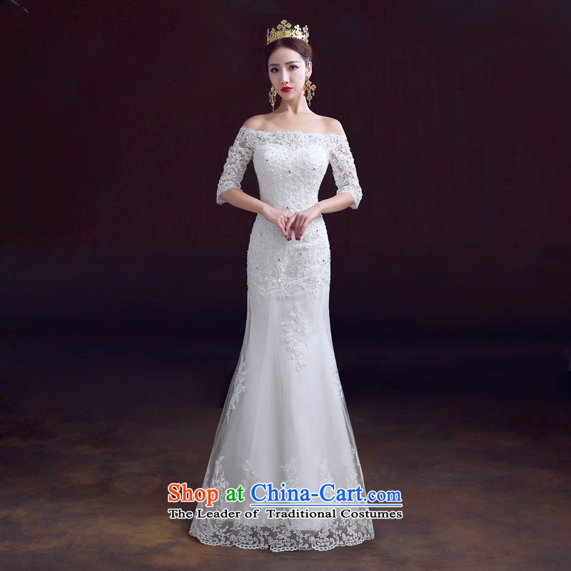 The dumping of the wedding dress wedding dress 2015 new autumn and winter field shoulder crowsfoot wedding packages to align and integrate with the marriage crowsfoot Sau San wedding booking Pearl White?S