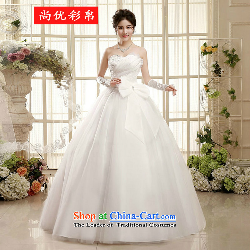 There is also optimized 8D wedding dresses spring 2015 the new Korean wiping the chest to align marriages princess bon bon skirt lace straps) xs2212 white S