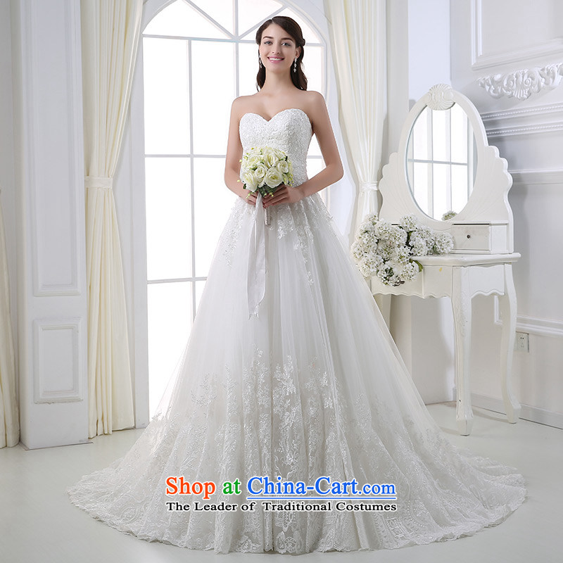 Custom dressilyme wedding by 2015 Spring_Summer anointed chest lace luxury bon bon wedding Sau San zipper tail of nostalgia for the bridal wedding dresses White - No spot 25 day shipping聽XXL