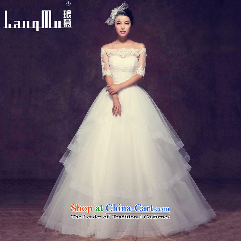 The new 2015 Luang slotted shoulder wedding dress is simple and stylish ultra small trailing anointed chest spring and summer wedding align bride) to add, A?L code Yi Long 144cm