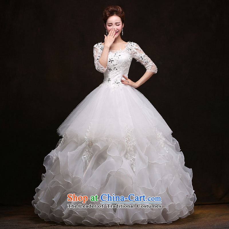 The feelings of Chinese?New Year 2015 yarn wedding dresses and stylish Korean word to align the shoulder larger Fat MM video thin wedding spring and summer in classic style white to cuff size does not accept return