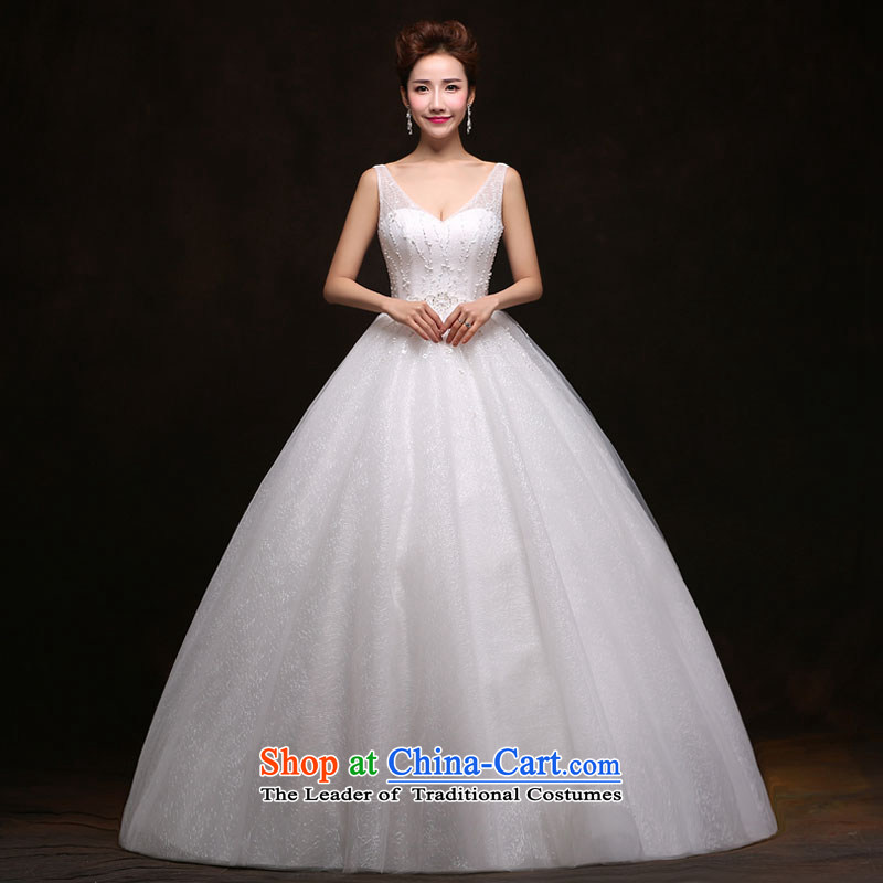 The feelings of Chinese New Year 2015 yarn lace semi permeable sexy V-Neck Princess Bride skirt bon bon video thin large wedding dress white聽S