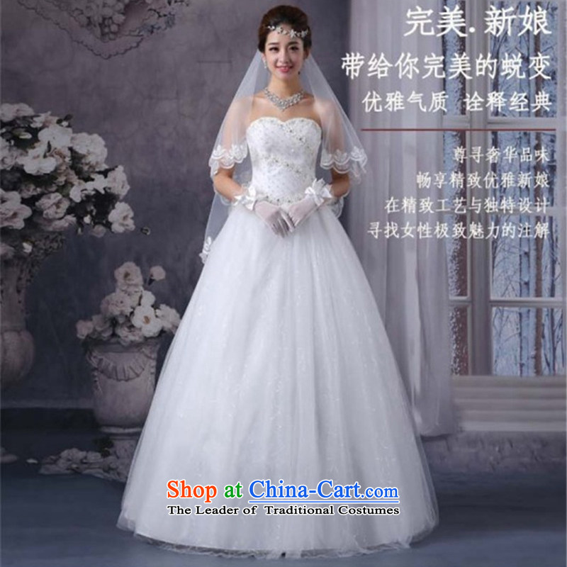 2015 new wedding heart-shaped anointed chest to bon bon yarn wedding dresses Royal Princess Bride wedding dress white�XS