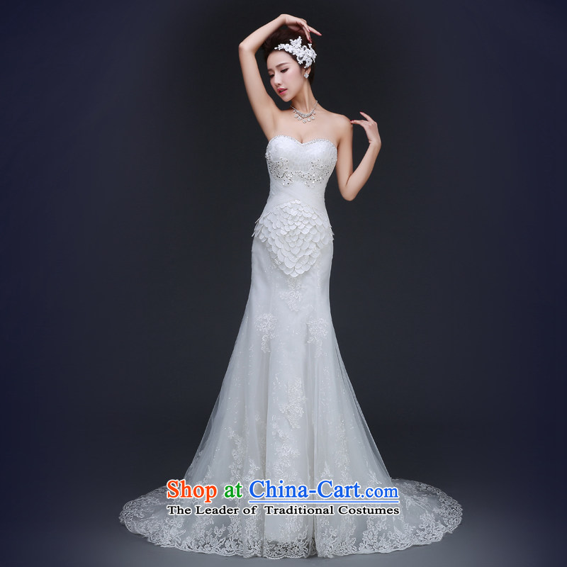 Jie Mia?spring and autumn 2015 Korean style wedding dresses of the 2014 Winter a new field for cuff lace water drilling A trailing white?L