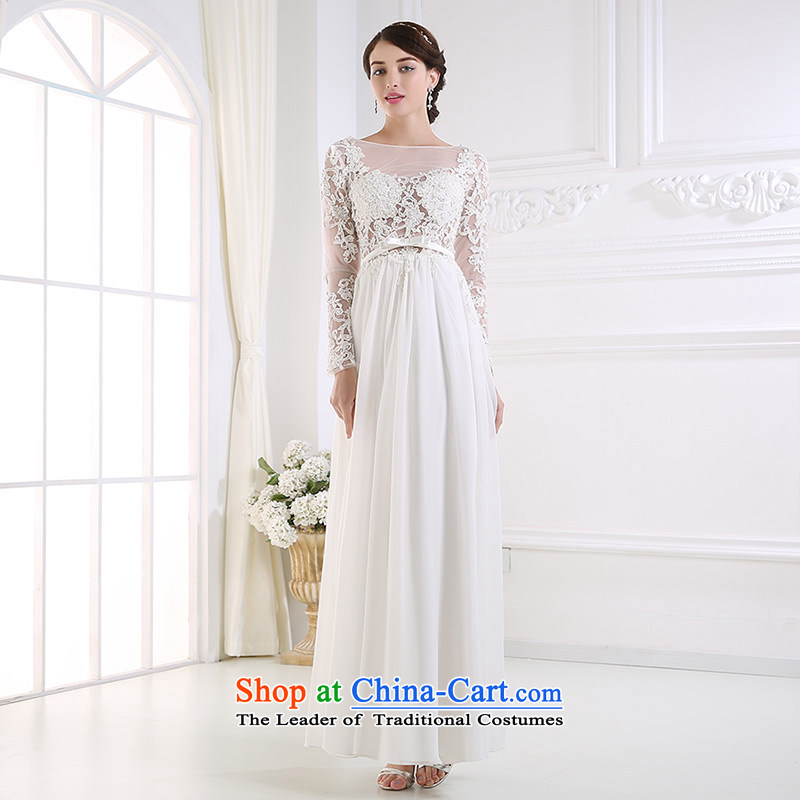 Custom dressilyme wedding by 2015 fluoroscopy chiffon lace straight back long-sleeved wedding slim summer sexy bride dress ivory - no spot 25 day shipping?M
