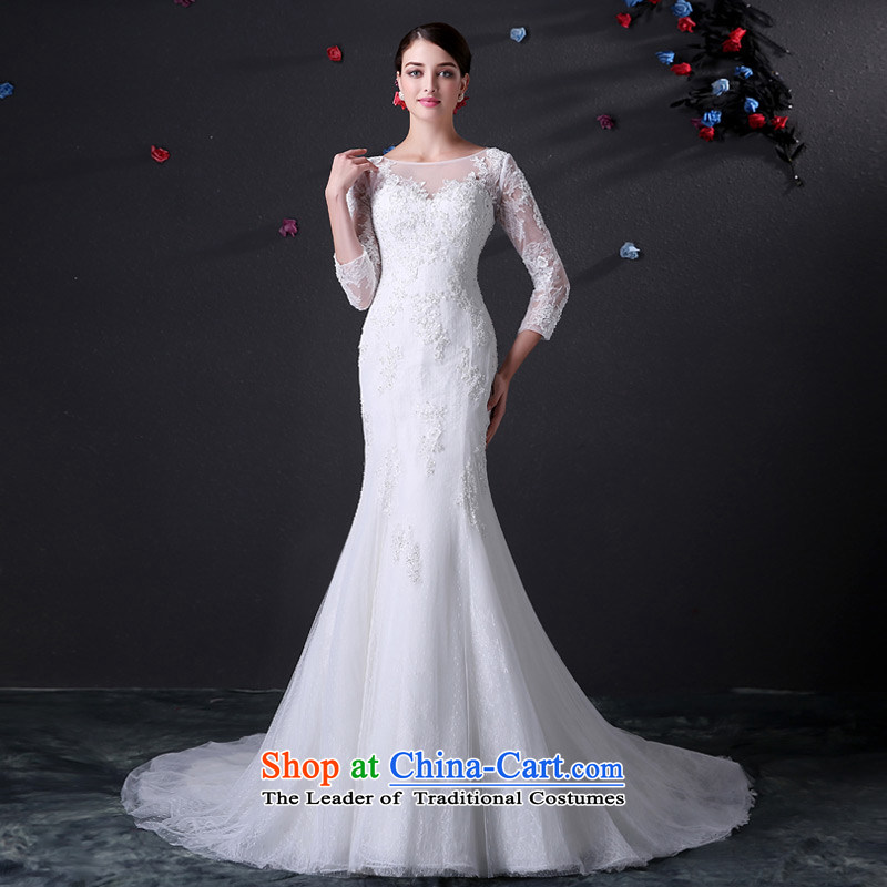 Custom dressilyme wedding by 2015 a field for fluoroscopy 7 cuff lace Sau San crowsfoot wedding zipper fluoroscopy tail bridal dresses ivory - no spot 25 day shipping?S