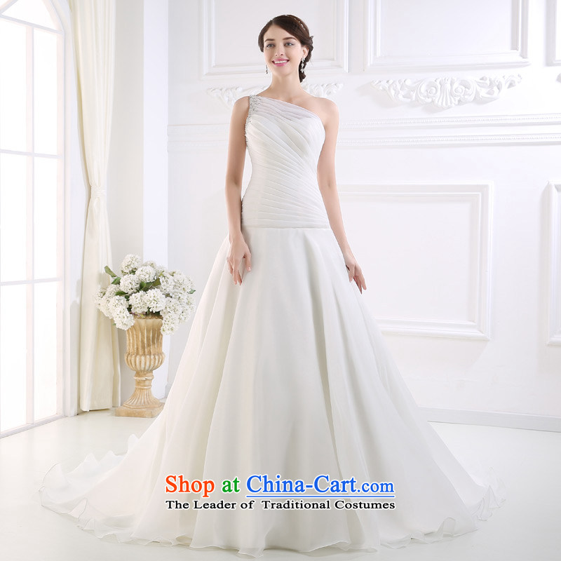 Custom dressilyme wedding fashion shoulder folds by 2015 Low-rise A Wedding nail pearl version pressure hem zipper tail bride wedding White - No spot 25 day shipping聽XS