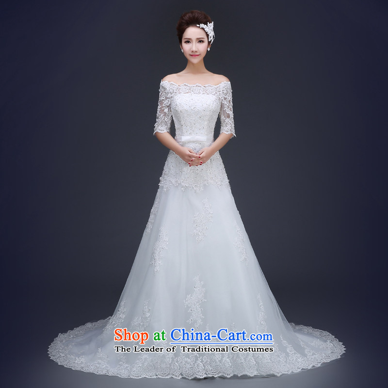 Jie Mija  2015 Spring/Summer new wedding dresses word is simple and stylish shoulder tail marriages Korean version of large white XXXL to straighten the