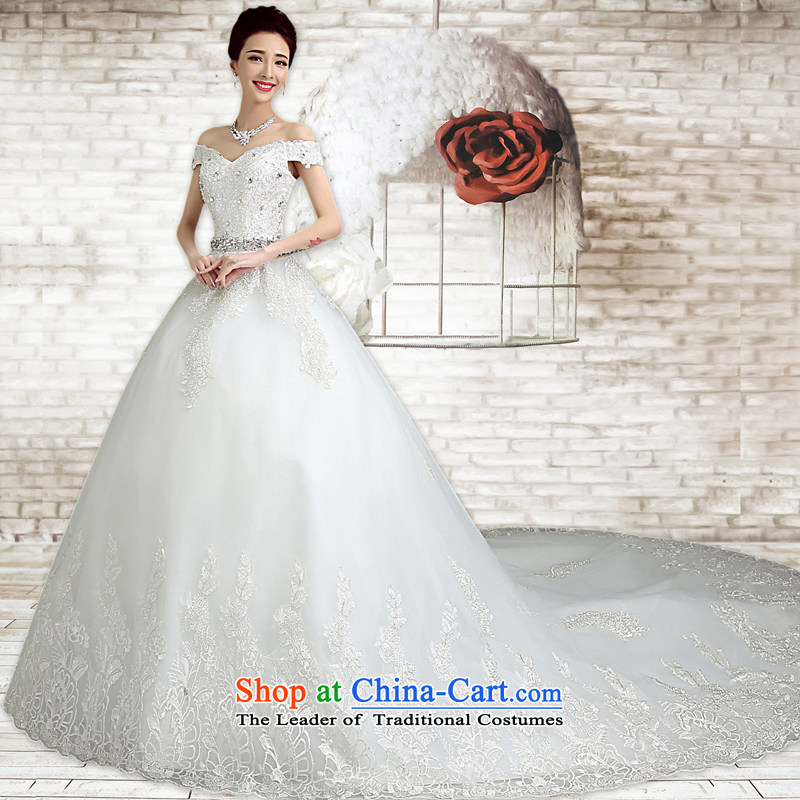 In accordance with the Netherlands varies with the wedding dress in spring and summer 2015 new white strap and chest wedding Korean to align the simple graphics thin marriages wedding trailing?M