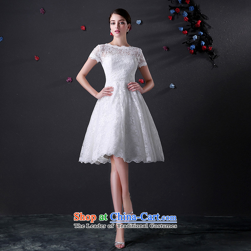 Custom dressilyme wedding word by 2015 collar short-sleeve lace short of wedding services V back bows lace bridal dresses zipper White - No spot 25 day shipping?XXL