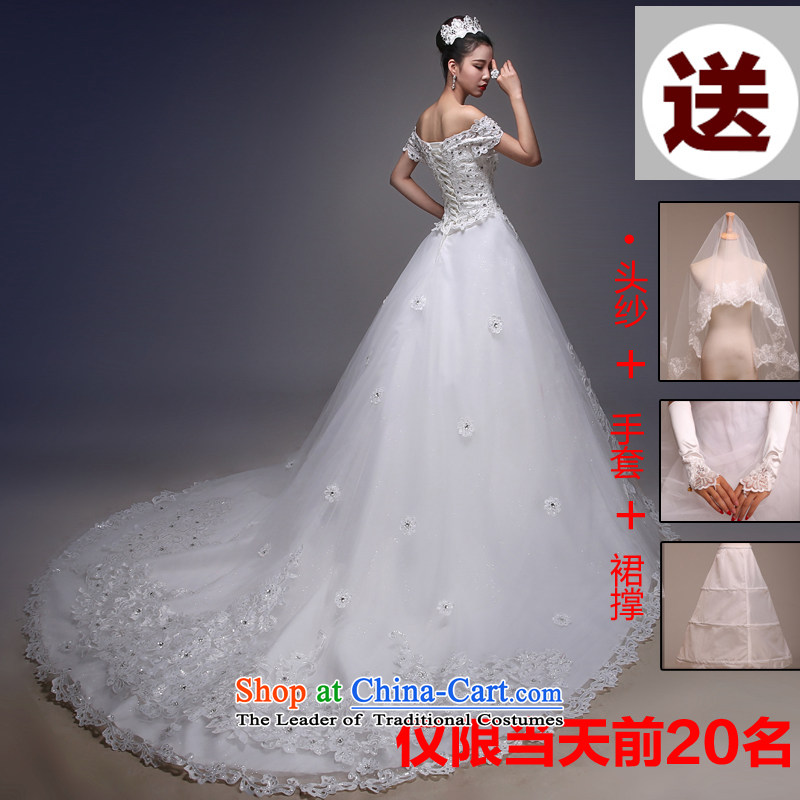 Blooming crazy bride wedding dresses shoulder the new Word 2015 Spring_Summer Korean Version to align the thin tail lace drill one field shoulder tail XL