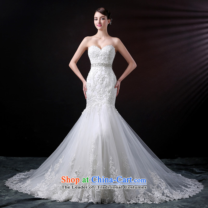 Custom dressilyme wedding by 2015 new anointed chest diamond lace crowsfoot Korean wedding dress lace large tail bride wedding dress White - No spot 25 day shipping聽XXL