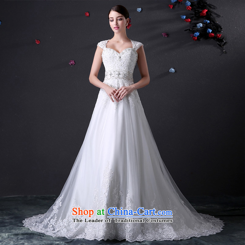 Custom dressilyme wedding packages by 2015 lace shoulder straps diamond anointed chest A Wedding dress tail zipper back bridal dresses White - No spot 25 day shipping聽L