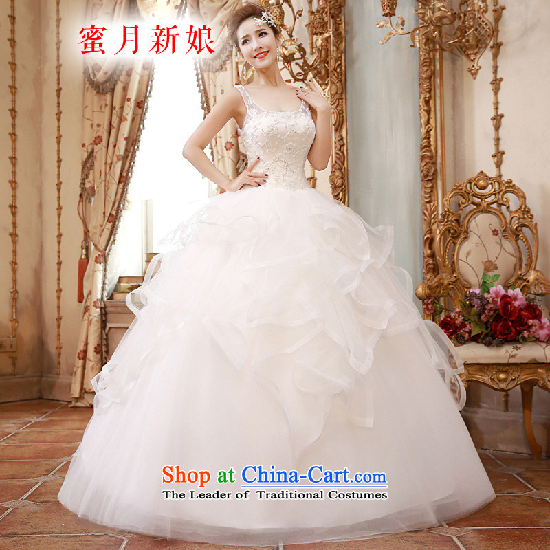 �The spring of 2015, the female bride honeymoon diamond pearl lace Princess Foutune of graphics to align the thin shoulders wedding White�XL