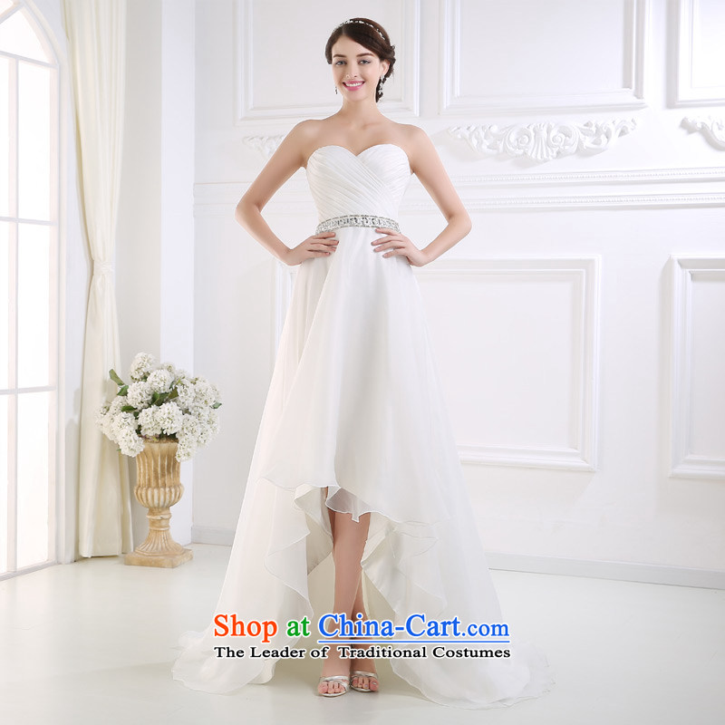 Custom dressilyme wedding by 2015 Spring/Summer in the breast of his waist front stub after long beach outdoor wedding zipper slim brides Sau San dress ivory - no spot 25 day shipping M