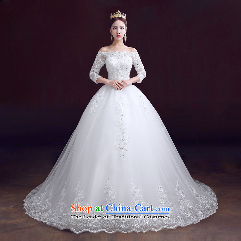 The dumping of the wedding dress wedding dress 2015 new word winter shoulder bridal dresses cuff large tail of marriage to align the wedding of the XS