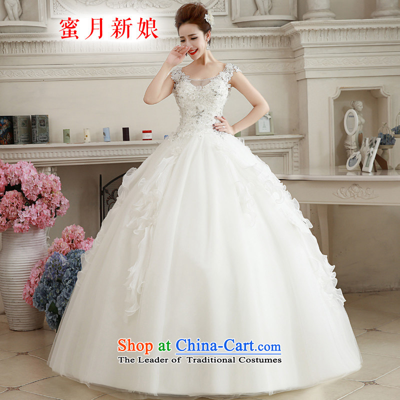 聽The spring of 2015, the bride honeymoon new female Korean version thin shoulders lace V-Neck wedding align to diamond wedding White聽XL