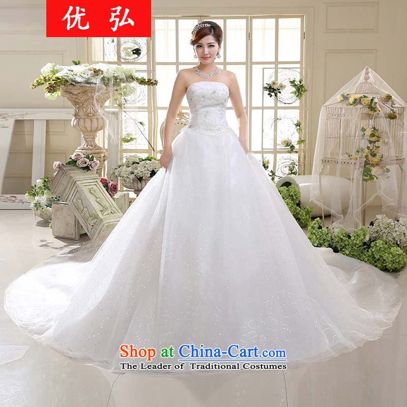 Dr Philip optimize�  new stylish 2015 white wedding dress girl brides sumptuous tail anointed chest hs003 L